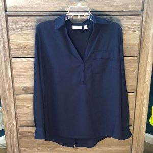 New York and Co. Navy Blue V-Neck Blouse w/buttons